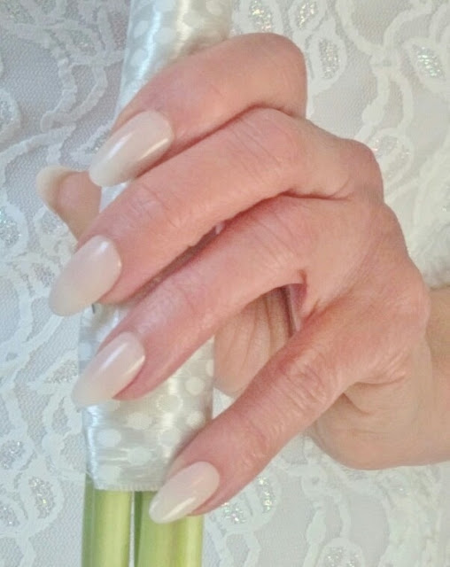 sheer pink bride nails