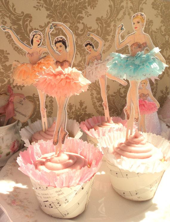 Vintage Little Vintage Ballerina Cake Toppers