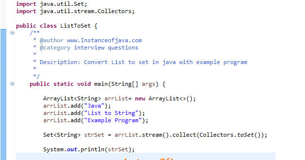 How to convert list to set in java with example program - InstanceOfJava