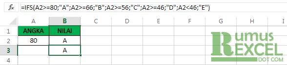 Contoh Rumus / Fungsi IFS Excel