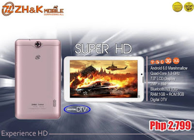 ZH&K Mobile Super HD Announced; 7-inch Tablet with Digital TV for Php2,799