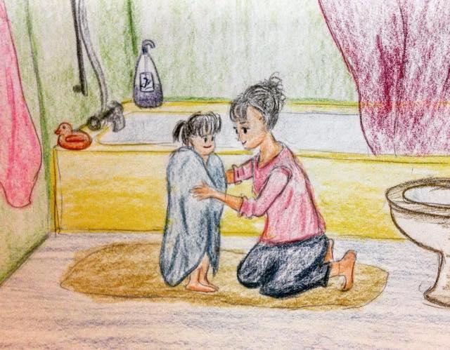 mom daughter drawing art sketch