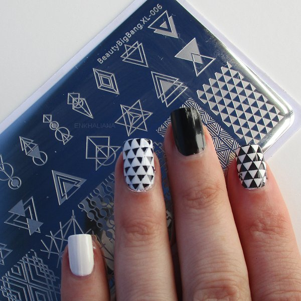 Negative Space Rectangle Nail Stamping Plate Triangle Geo Theme Nail Art Tool SKU:BBXL-006