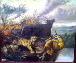 Lukisan Raden Saleh: Kebakaran Hutan, Cat minyak di atas kain kanvas, dibuat pada tahun 1994