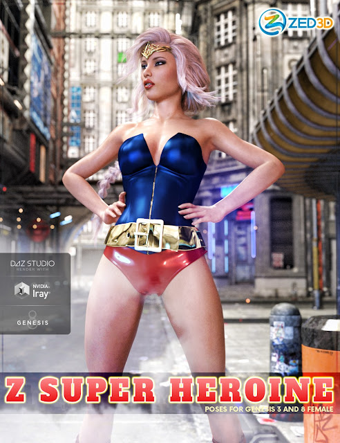 Z Super Heroine - Poses and Partials for Genesis 3 and 8 Female