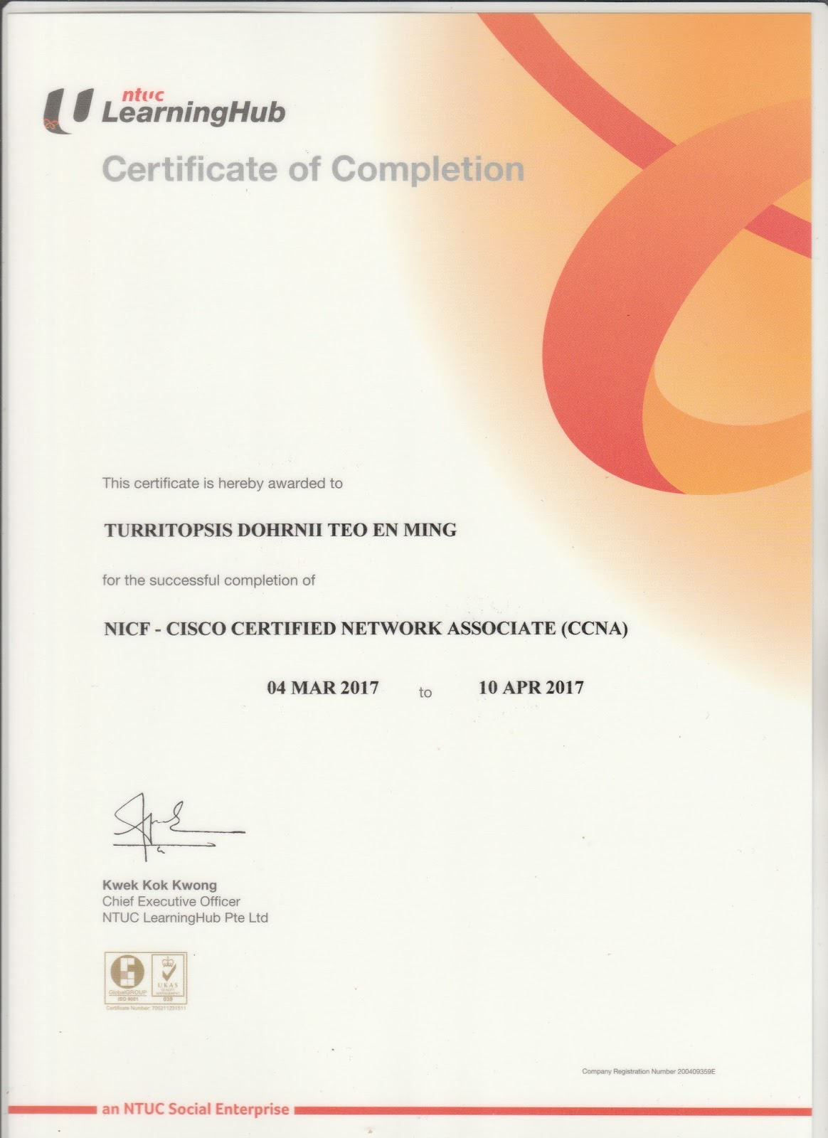 Nicf Ccna Certificate Of Completion