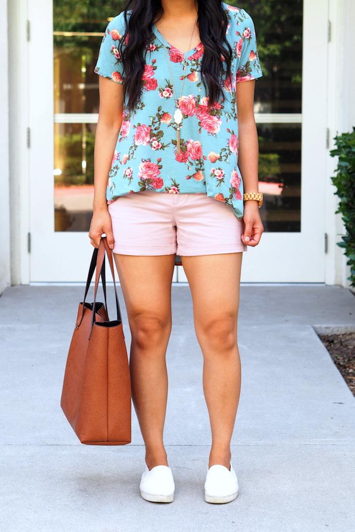 blue floral print top + pink shorts