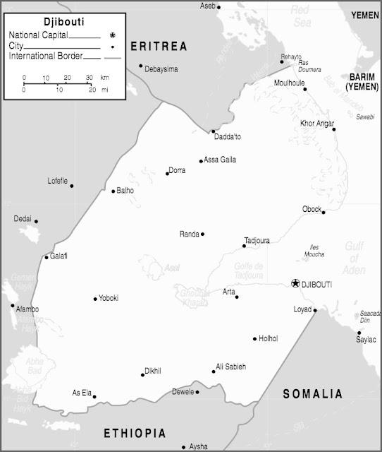 image: Black and white Djibouti Map