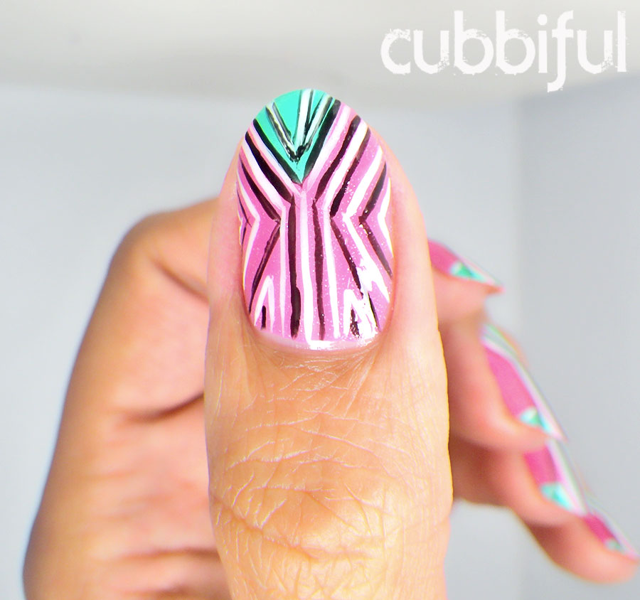 Pink and Mint Geometric Nails