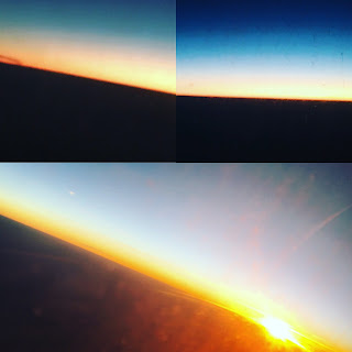 Beautiful sunrise witnessed from an airplane window on the way to Pondicherry, India