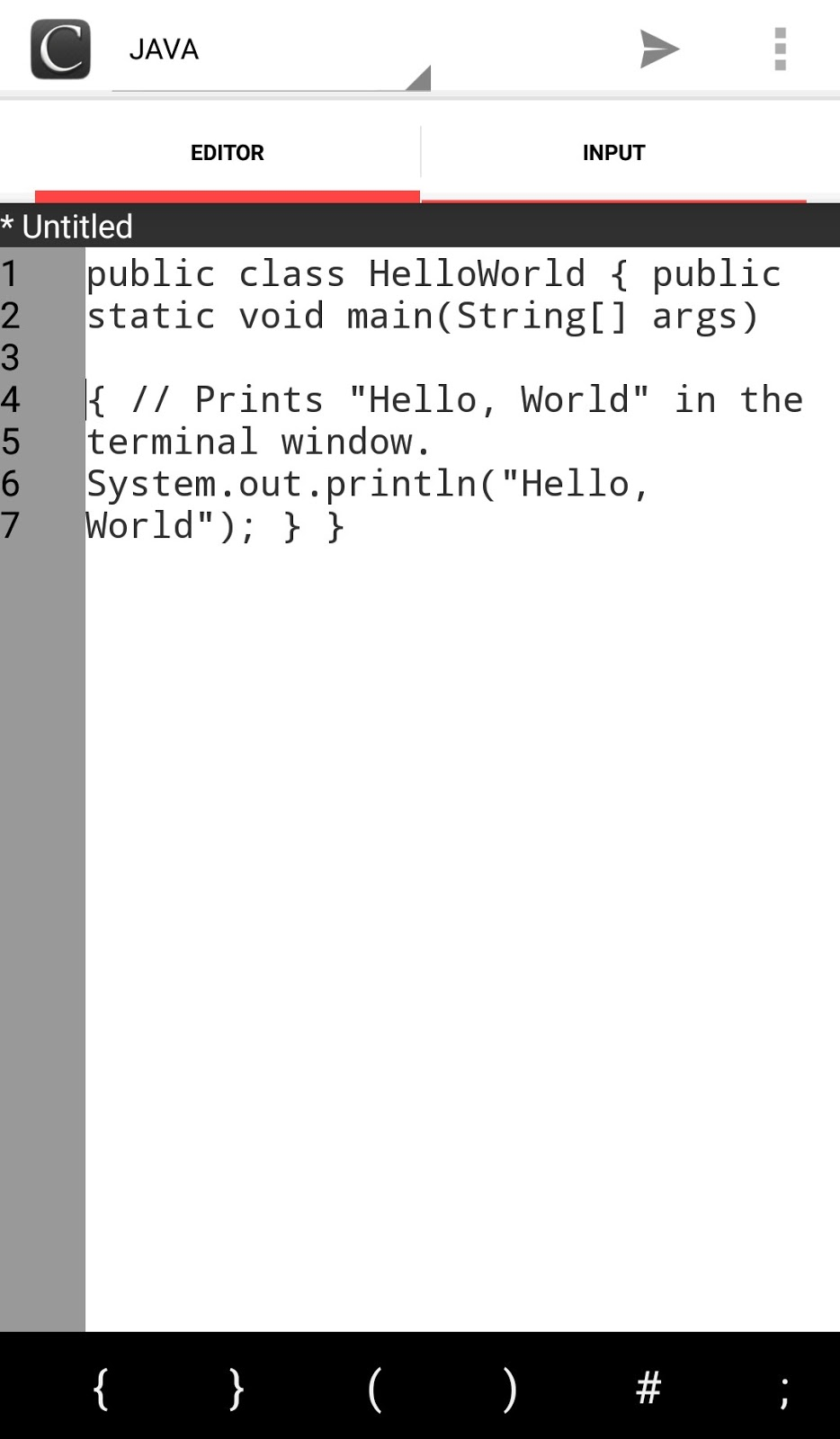Online Compiler code editor interface