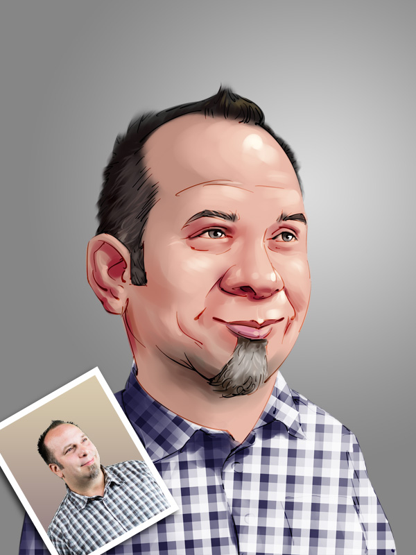 male professional caricature digital painting