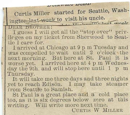 1908 Letter from Curtis Weston Miller While on Frustrating Trip from Sherwood, Ohio, to Samish, Washington