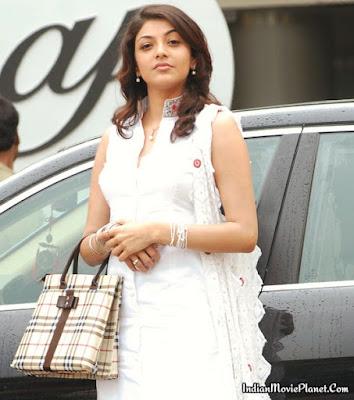 kajal agarwal hot white salwar images wallpapers