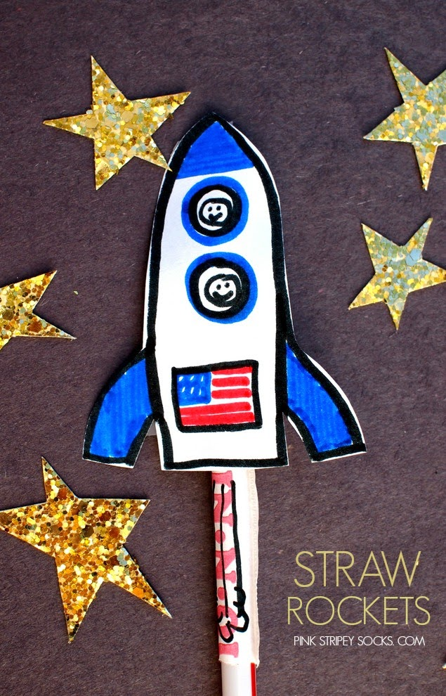 Easy kids straw rockets- fun space activity!