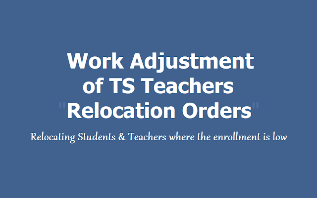 Work Adjustment of TS Teachers - Relocation Orders 2019: Relocating Students & Teachers where the enrollment is low