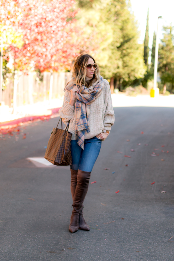 beige sweater gray over the knee boots