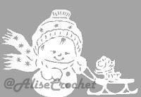 снеговик с санками трафарет