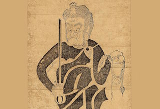 Fudō Myōō with sword and rope, 17th century woodcut