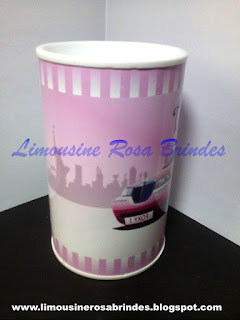 Cofrinho Limousine Rosa, Lembrancinha Limousine Rosa, Brinde Limousine Rosa, Festa Limousine Rosa,Tema Limousine Rosa,