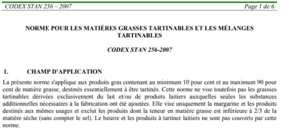 CODEX STAN 256-2007 : NORME POUR LES MATIÈRES GRASSES TARTINABLES ET LES MÉLANGES  TARTINABLES