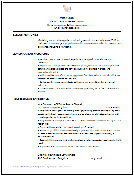 marketing cv format