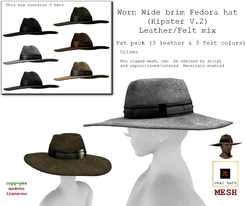 e340de90b Real Hats! JfL's store blog, hats for men: The Worn Wide brim Fedora ...