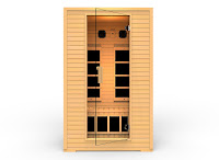 JNH Lifestyles SG2HB Vivo 2-Person Far Infrared Sauna with 5 carbon fiber far infrared heaters, constructed with dual-wall Canadian Hemlock Wood for better heat insulation