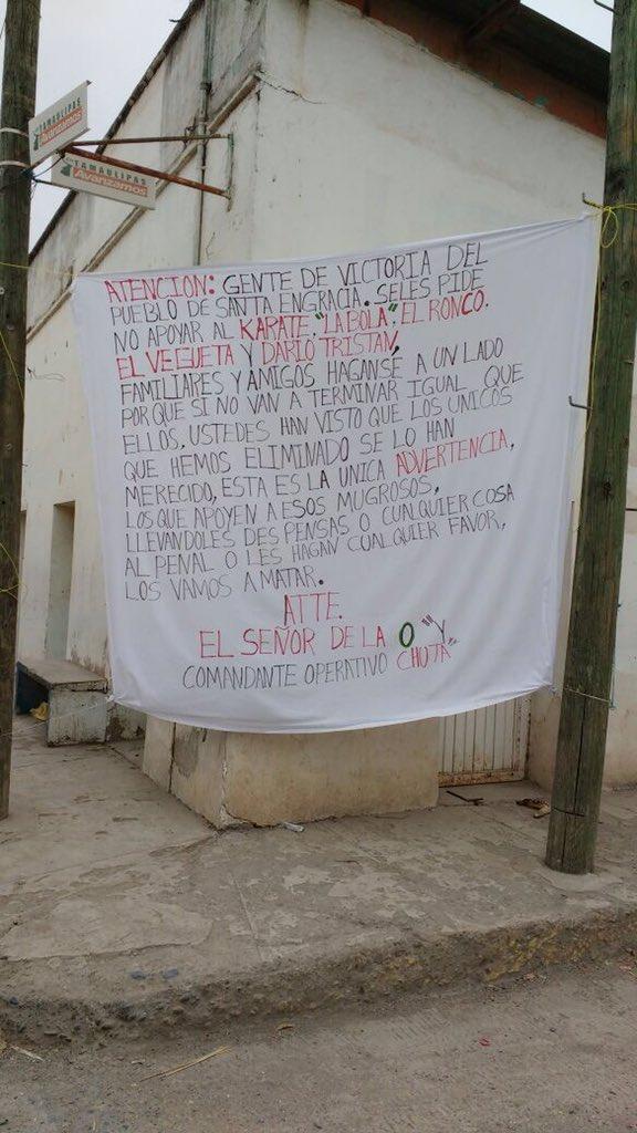 """""""El Señor de la O"""" deja NARCOMANTA EN CD VICTORIA; manda advertencia a los mugrosos que lleven despensas a los contras al penal"""