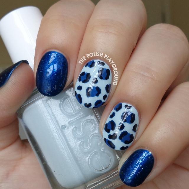 Blue Leopard Print Nail Art