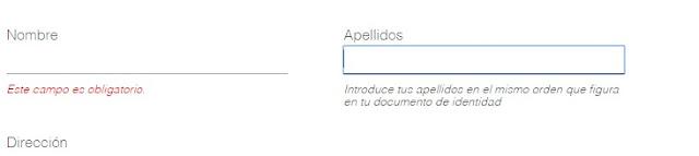 formulario de Zara basado en color