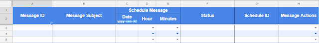 Screenshot of columns used by email scheduler