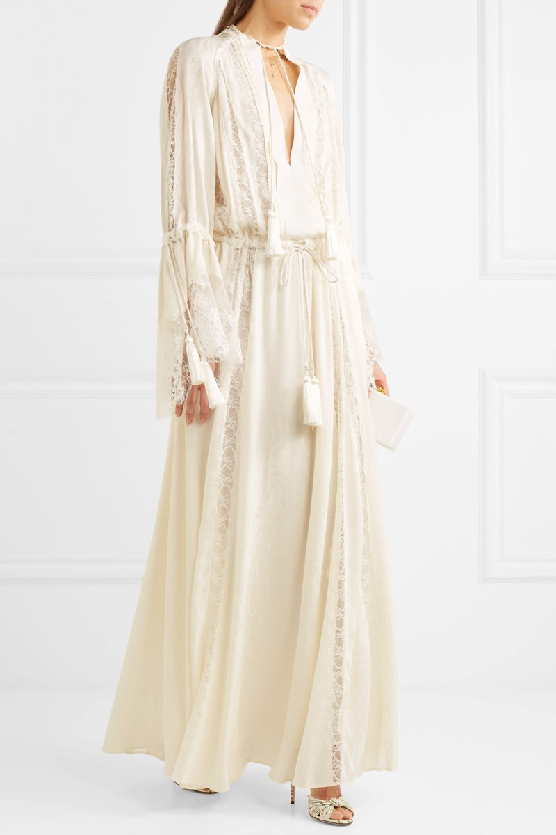 Etro Lace-Paneled Silk-Jacquard Gown