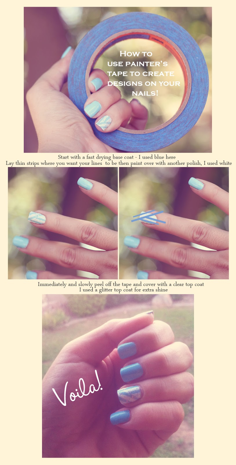 jill and the little crown: How To Use Tape To Create Designs On Your Nails