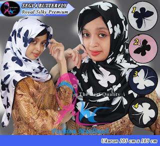 Jilbab segi empat butterfly dari bahan royal silky premium