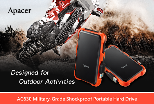 Apacer's AC630 USB 3.1 Gen 1 Military-Grade Shockproof Portable Hard Drive Designed for Outdoor Activities