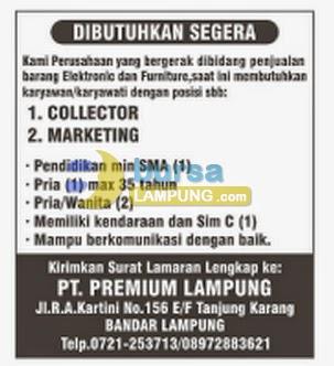 Lowongan Kerja Pt Premium Lampung