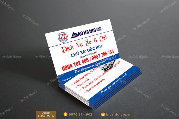 Mẫu card visit Taxi Dịch vụ xe Sao Hà Nội