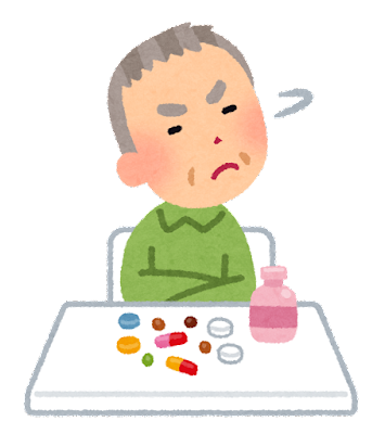 薬を拒否するお年寄りのイラスト