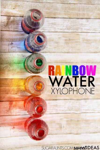 Kids love this rainbow water xylophone using recycled bottles to make music.