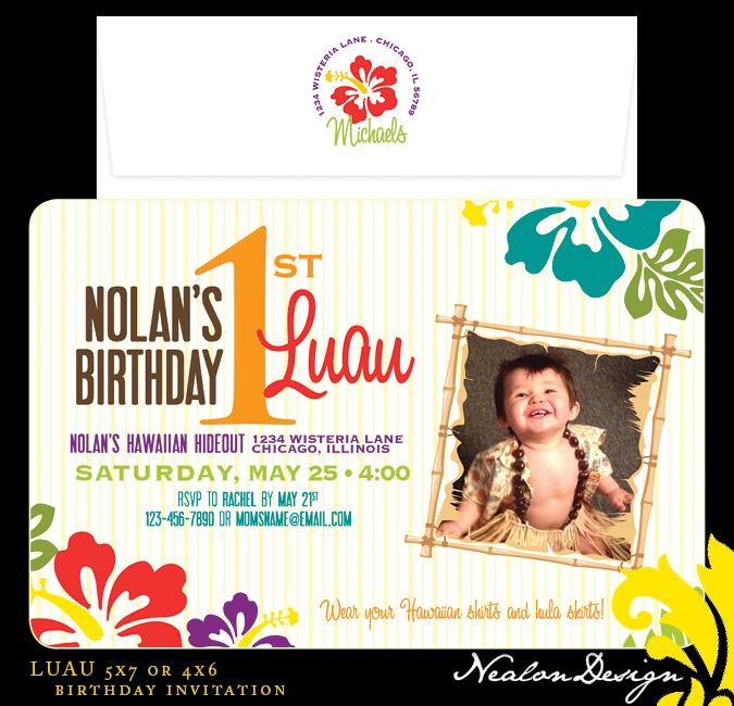 nealon design  luau  u2014 birthday invitation