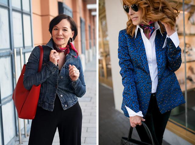 Зрелая женщина в шейном платке в одежде в стиле casual