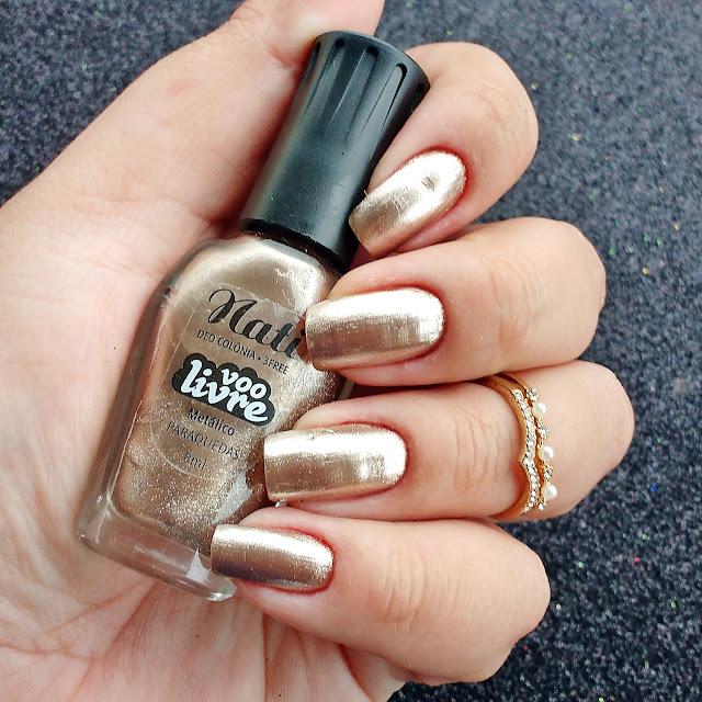 esmalte metálico dourado rose gold