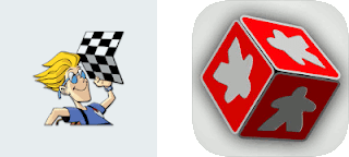 The logos for both the Android and the iOS versions of the Board Game Geek apps. The Android version shows Ernie, the mascot of Board Game Geek, an cartoon man with blonde hair and glasses holding up a chess board. The iOS app shows a red die with grey meeples on each side.
