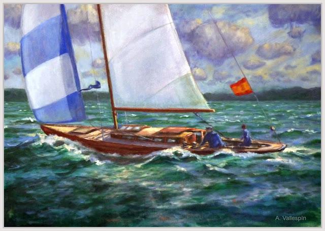 Óleo velero navegando sobre mar verde