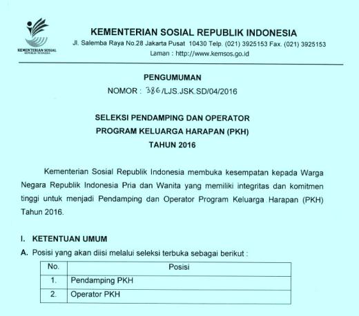 Kemensos Buka Seleksi Calon Pendamping Dan Operator Pkh Tahun 2016 Forum Guru Indonesia Forum Guru Indonesia