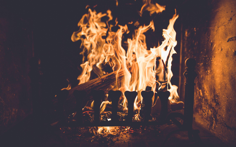 Fire In Fireplace Wallpaper