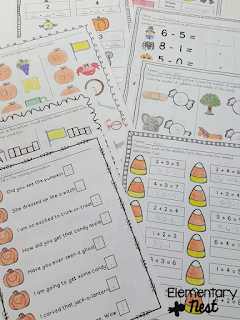 Print and go october worksheets to use in centers, for morning work, homework, or early finishers- October Activities for a primary classroom- PLUS a freebie!