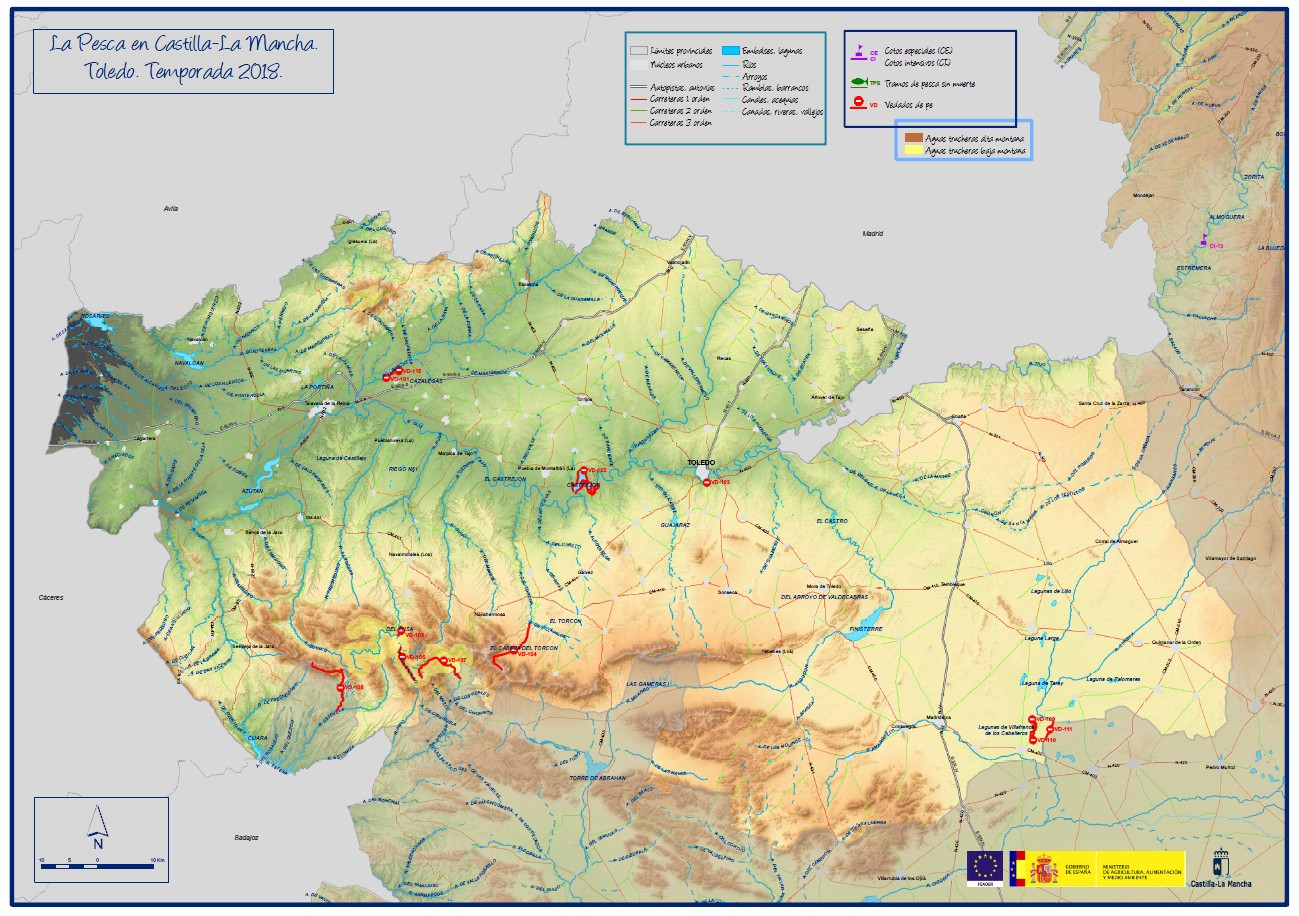 Mapa Provincia Toledo Carreteras.Mapa De Pesca De La Provincia De Toledo Hay Pesca