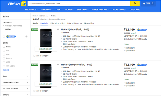 Nokia 5 with 3GB RAM listed on Flipkart